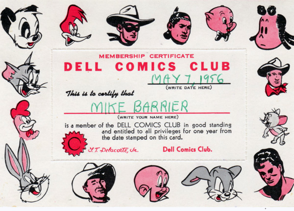 Dell Comics Club card